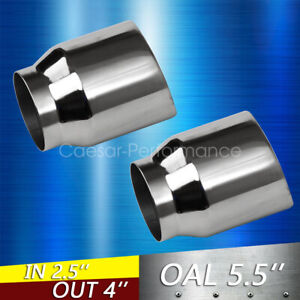 1 Pair Double Wall Weld On Exhaust Tips 2 5 Inlet 4 Outlet 5 Long S S Chrome