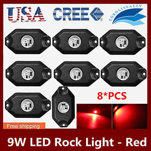 8x 2 9w Led Rock Light Fits Jeep Offroad Under Body Trail Red Rig Lamp blue