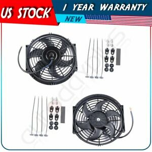 2pcs 10 Inch Electric Radiator Slim Cooling Fan For 00 14 Toyota Land Cruiser
