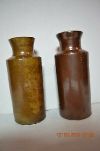 Two Early Stoneware Brown Glazed Ink Bottles