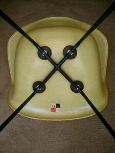 Early Eames Rope Shell Chair With X Base Zenith Plastics Checkerboard Label