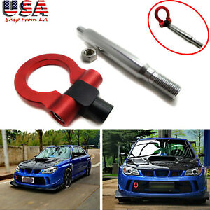 Sport Red Cnc Aluminum Front Rear Racing Tow Hook Kit For Subaru Wrx