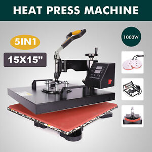 5 In 1 Heat Press Machine Digital Transfer Sublimation T shirt Mug Hat 15x15