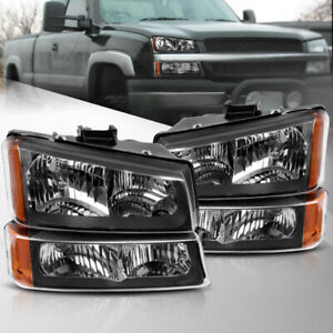 For 2003 2007 Chevy Silverado Headlights bumper Parking Light Lamp Black Housing