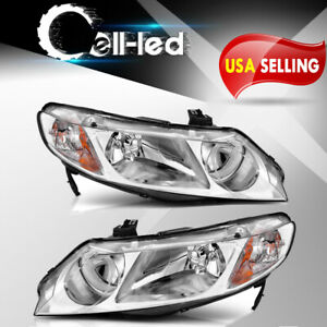 Headlights Assembly For 2006 2011 Honda Civic Sedan 4dr Head Lamp Chrome Housing