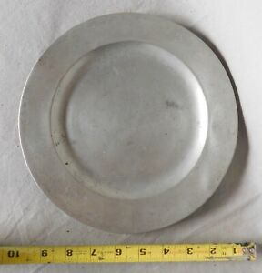 Antique 18th C Pewter Dinner Plate American Marked T H English Early Flat Rim