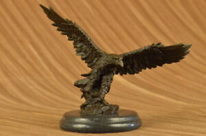 Bronze Sculpture Large Falcon American Eagle By Milo Marble Base Figurine Gift