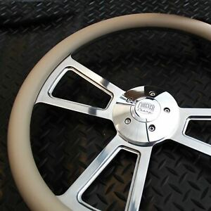 18 Polished Billet Style Steering Wheel 5 Hole With Horn And Grey Vinyl Grip