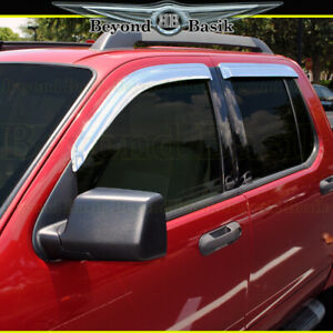 2007 2010 Ford Explorer Sport Trac Chrome Door Vent Visors Window Rain Guards