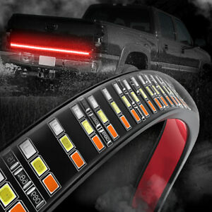 60 Led Tailgate Light Bar Triple Row Strip Amber Turn Signal Brake Reverse Lamp