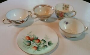Lot Mixed Vintage Hand Painted Bone China Tea Cups 4 And One Dessert Plate