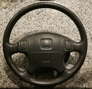 1999 2000 Honda Civic Si Sir Leather Wrapped Steering Wheel Oem Cruise