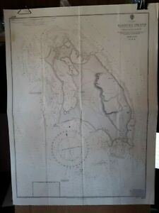 Vintage Admiralty Chart Survey Map West Indies Barbuda Island Nautical