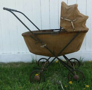 Vintage Baby Carriage Buggy Stroller Brown Gardner Ma Usa