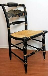 Lovely Ethan Allen Hitchcock Eagle Desk Chair Rush Caned Black Lacquer Stencil