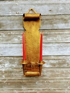 Antique Mission Arts And Crafts Sconce Gas Light Candle Holder Cast Iron Gold