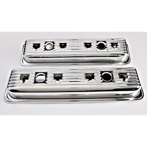 Chrome 1987 Up Small Block Chevy Centerbolt Valve Covers 2 Hole