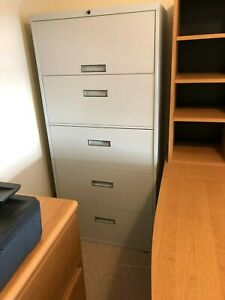 5 Drawer Lateral File Cabinet By Steelcase Beige With Key
