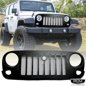 Fits For Jeep Wrangler Jk 2007 2017 Front Grill Matte Black Steel Mesh Grille