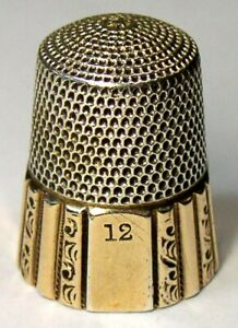 Antique Simons Bros Gold Band Sterling Silver Thimble Fluted Octagon C1920s