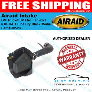 Airaid 09 13 Gm Truck suv Elec Fan excl 11 6 0l Cad Intake Tube Dry Black Media