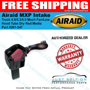 Airaid 99 06 Truck 4 8 5 3 6 0 Mech Fan low Hood Mxp Intake Tube Dry Red Media