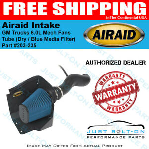 Airaid 09 10 Gm Trucks 6 0l Mech Fans Cad Intake Tube Dry Blue Media Filter