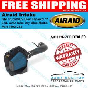 Airaid 09 13 Gm Truck suv Elec Fan excl 11 6 0l Cad Intake Tube Dry Blue Media