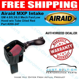 Airaid 99 06 Gm 4 8 5 3 6 0 Mech Fan low Hood Mxp Intake W o Tube Oiled Red