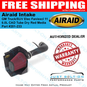 Airaid 09 13 Gm Truck suv Elec Fan excl 11 6 0l Cad Intake Tube Dry Red Media