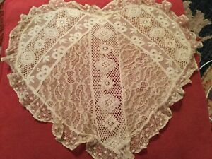 Gorgeous Vtg Antique French Lace Pillow Cover Heart Shape