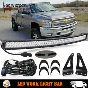 50 52 Inch Curved Led Light Bar W Mount Bracket For 2007 14 Chevy Silverado Gmc