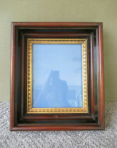 Antique Frame Victorian Shadow Box Walnut Wood Glass Front Wood Back Gold Gilt
