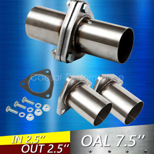 1pc 2 5 Od Universal Quickfix Exhaust Triangle Flange Repair Pipe Kit 3 Bolts
