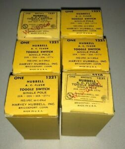 Lot Of 6 New Vintage Hubbell 1221 Single Pole Toggle Switch Brown 20a 120vac