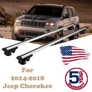 For 2014 2018 Jeep Cherokee Pair Roof Rack Cross Bars Car Top Luggage Aluminum