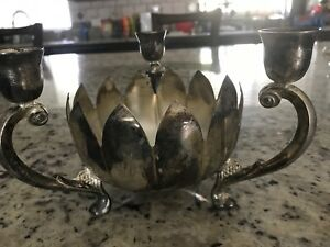 Vintage International Silver Plated 3 Candle Holder Candy Dish Lotus Flower