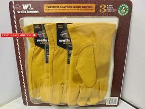 Wells Lamont Premium Leather Work Gloves 3 Pair Pack Large
