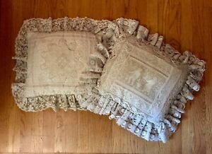 Antique Tambour Lace Pillows Set Of 2