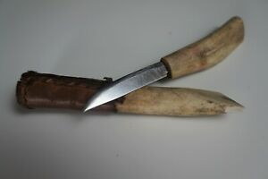 109 Early 20th Century Inuit Knife Decorated Case Nice Patina