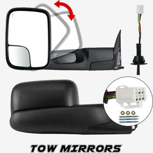 Left Right Tow Mirrors For 98 2001 Dodge Ram 1500 2500 3500 Flipup Power Heated