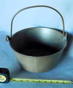 Antique Brass Bucket Cauldron Ca 1875 Copper Bail Handle Apple Gathering Water