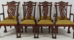 Set Of 8 Mahogany Chippendale Style Dining Chairs Claw Ball Williamsburg Style