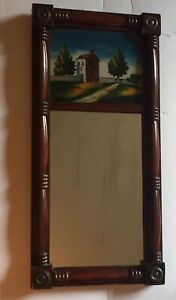 Sale Antique Federal Two Part Mahogany Reverse Painted Wall Mirror Very Old