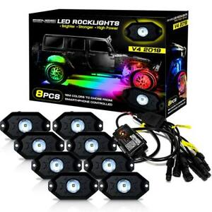Genssi 8x Pods Rgb Led Rock Light Offroad Wireless Bluetooth Music Controller