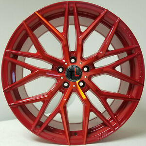 20 Candy Red 5x114 3 Flow Forged Traklite Wheels Toyota Rims Infinity Lexus