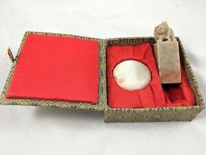 Chinese Green Soapstone Stamp Seal And Red Ink Set With Case