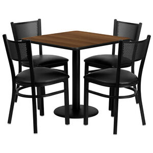 30 Square Walnut Laminate Top Restaurant Table Set W 4 Grid Back Metal Chairs