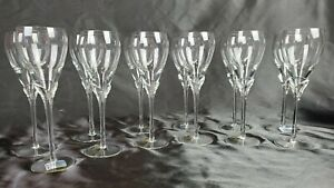Set Of 12 8 Oz Antique Romania Towle Lead Crystal Red Wine Stemware Glasses
