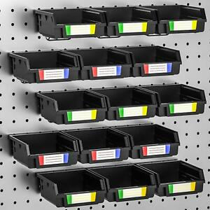 Incly 15 Pack Black Plastic Pegboard Bins Storage Set Hooks To Any Peg Board